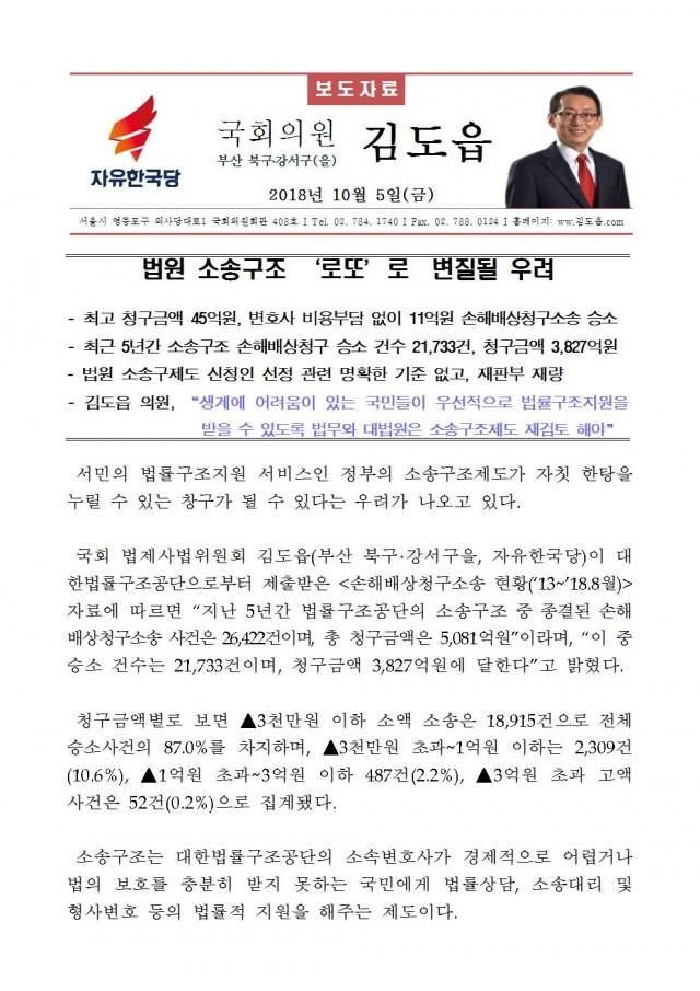 20181005 [김도읍의원실 보도자료] 법원 소송구조 '로또'로  변질될 우려001.jpg
